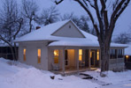 Chautauqua cottage in the snow